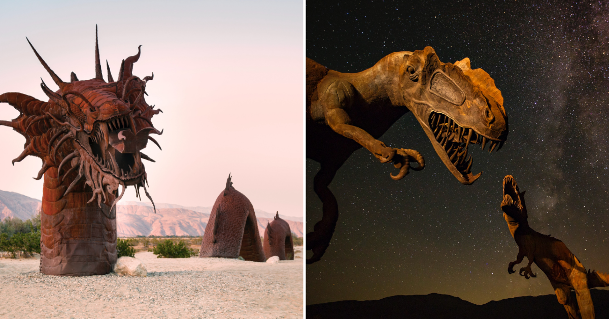 Dragon and tyrannosaurus rex Desert sculptures