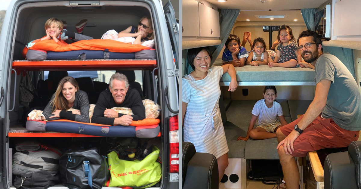 two families in a converted van