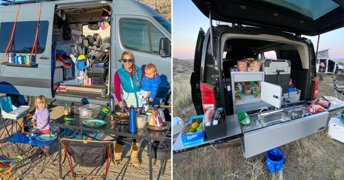 two photos of people outside their camper vans
