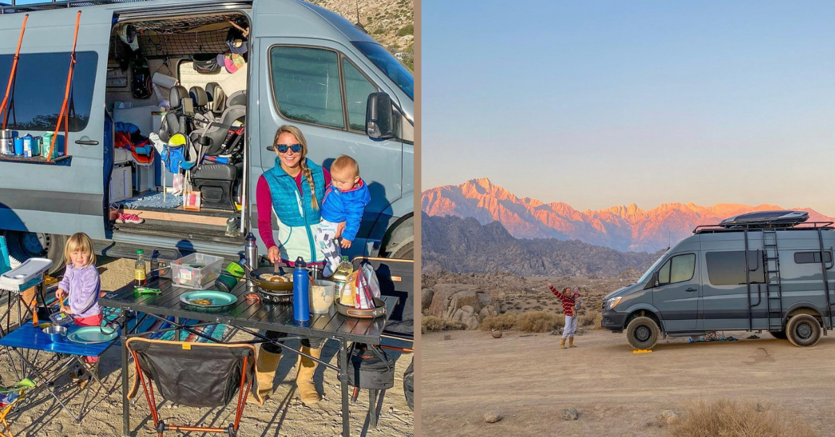 a family standing in front of a van in the mountains