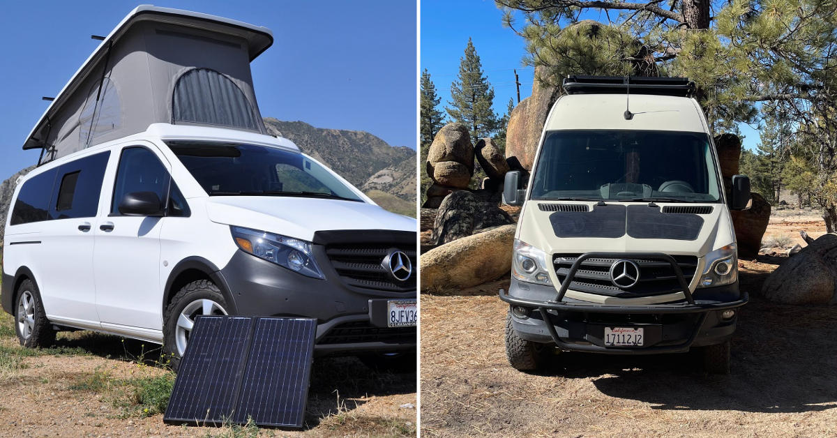 two vans with solar panels attached