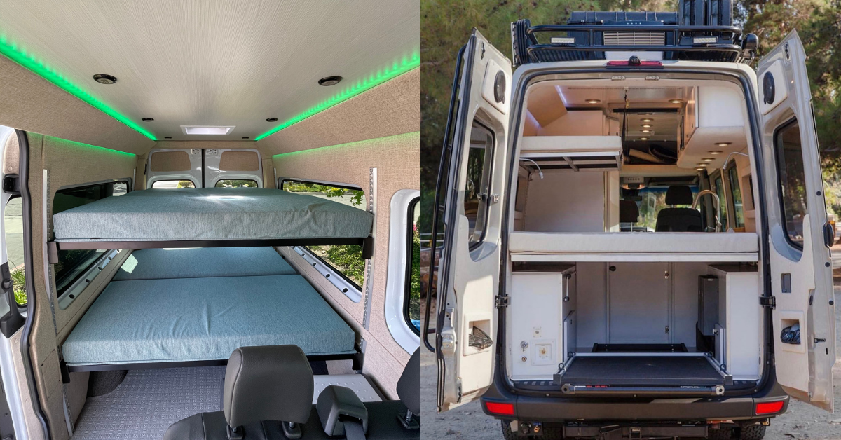 two converted vans with bunk beds
