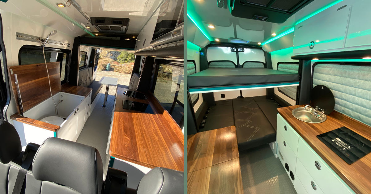 a converted camper van with an electrical drop down bed