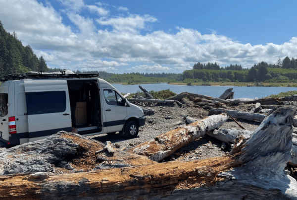 van on river in Olympic national park